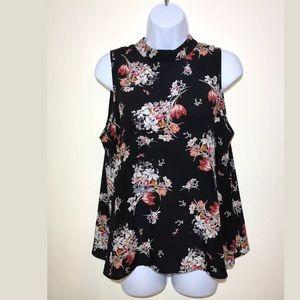 Anthropologie Maeve Top Black Floral Tank 100%Silk